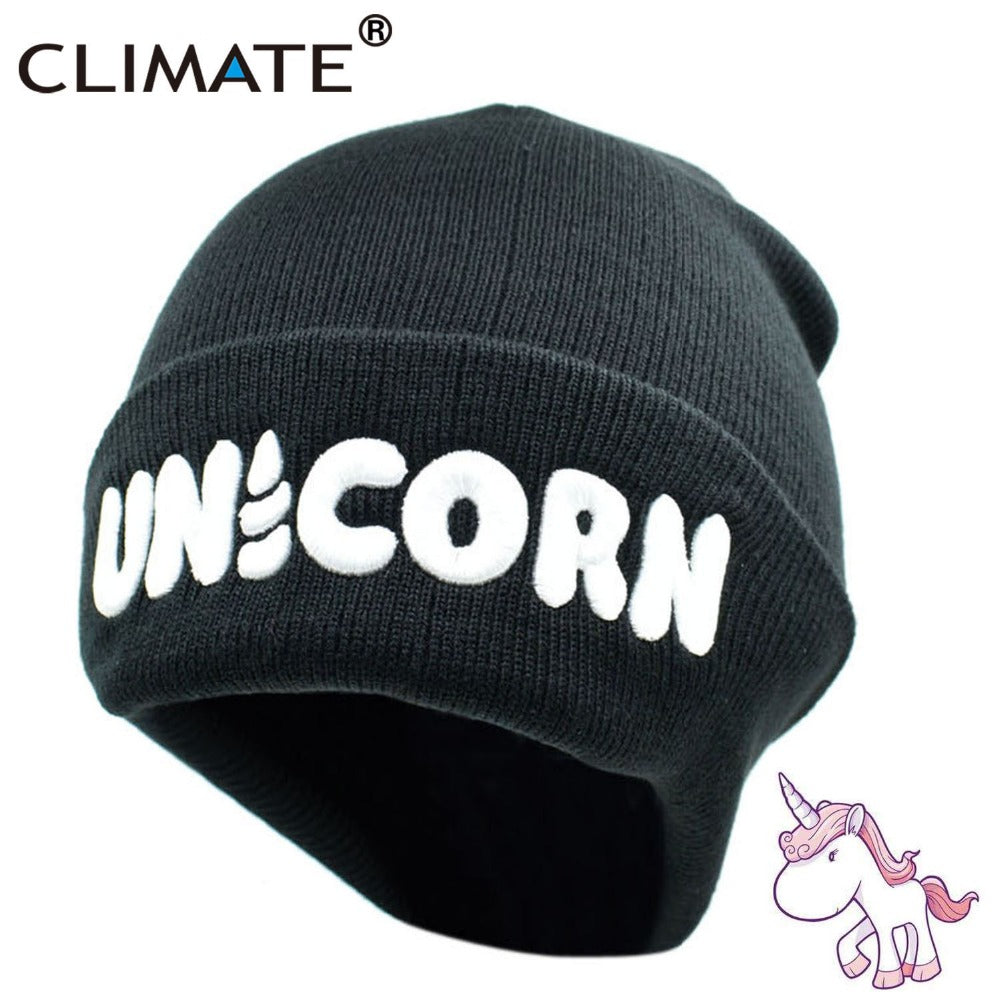 Women Men Unicorn Winter Warm Beanie Hat Unicorn Black HipHop Soft Knitted Hat For Adult Teenagers Boy Girls Warm Hat
