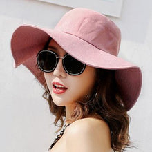 Load image into Gallery viewer, Spring Summer Sun Hats For Women Large Wide Brim Cotton Bucket Hat Beach Panama Hat Cap Visor Seaside Chapeau Femme New