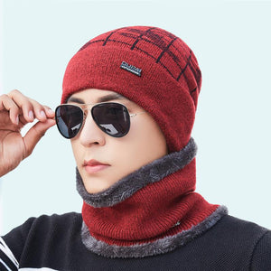 Winter Men's Skullies Beanies Hat Scarf Set Knitted Hat Cap Male Gorra Bonnet Warm Winter Hats For Men Women Beanies Mask