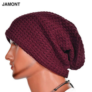 Casual Chic Men's Loose Beanie Black Hat Caps New Winter Women Men's Skullies Warmth Knitted Beanies Solid Color Oversized 2018