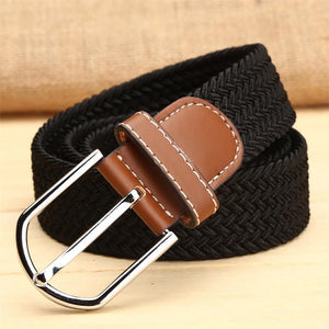 Casual Unisex Elastic Knitted Canvas Belts 2020 Women Decoration Solid Fashion Pin Buckle Belts Men's Chic Canvas Strap Belts