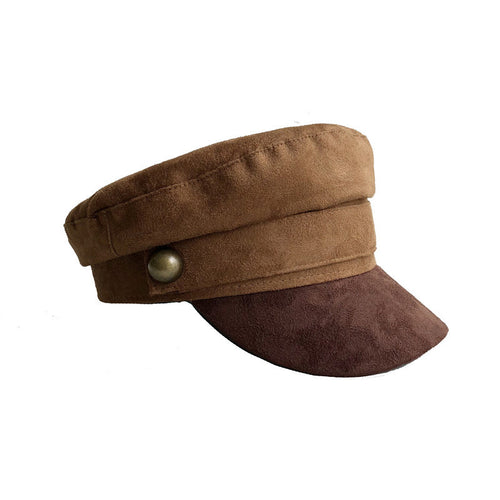 2f8d11bc84dcc Chamois Leather Military Hat men women Flat Top Army Cap Custom online  celebrity British style Browm