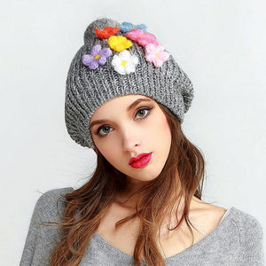Chic Casual Winter Warm Women Hat Thick Floral Beautiful Comfortable Female Knitted Beanies Removeable Fur Top Cap