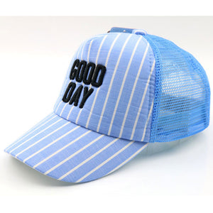 Children Striped Mesh Baseball Trucker Cap Summer Letters Hats 3-7 Years Boys Girls Blue Grey Beige Pink Black