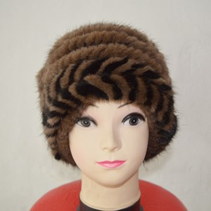 China Air Mail Free Shipping SJ922-05 Brown Color Lovely Cheap Female Mink Fur Hats for Girl