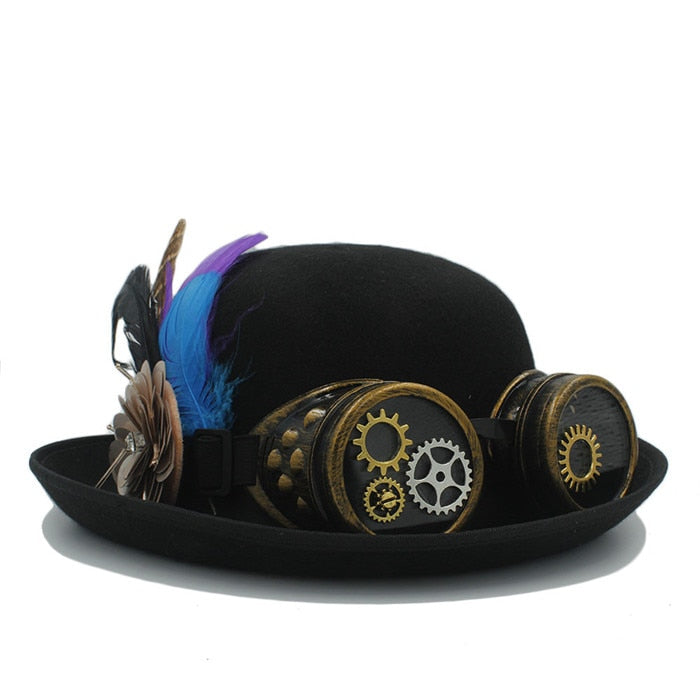 Classic Handwork Fedora Hat Steampunk Bowler Hat For Women Men Gear Glasses Cosplay Hat Halloween Feather Party Top Hat