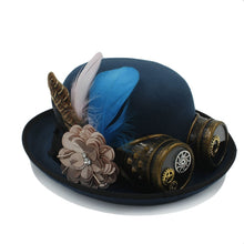 Load image into Gallery viewer, Classic Handwork Fedora Hat Steampunk Bowler Hat For Women Men Gear Glasses Cosplay Hat Halloween Feather Party Top Hat