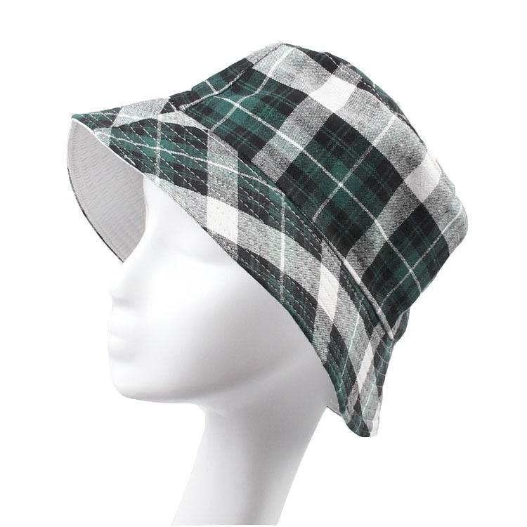 Classic Plaid Canvas Bucket Hats for Men Women Summer Hat Outdoor Cap Beret Sunhat Flat Caps for Men Sun Hats Panama Reversible