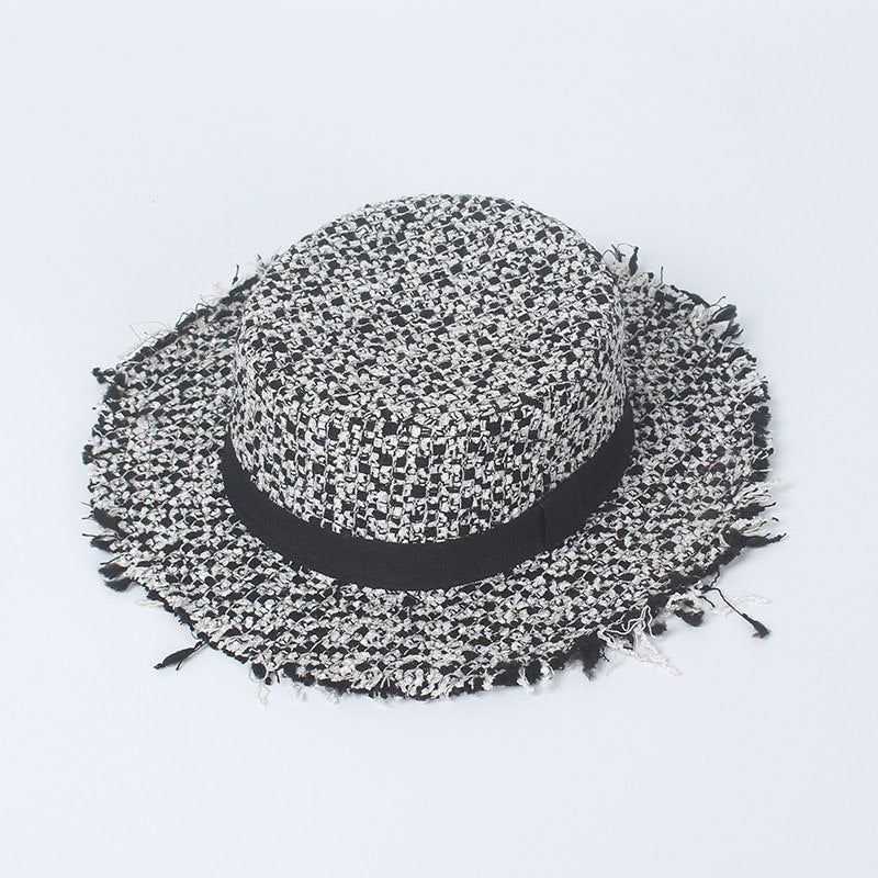 Classic black and white tweed hat female 2020 autu and winter new fashion wide brim
