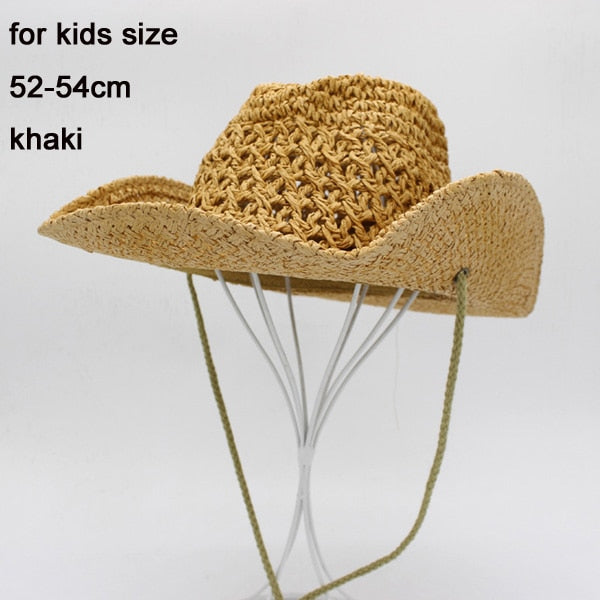 7c0f0ad63 Classical Kids Cowboy Hat Khaki Large Straw Hat For Men Women Sun Beach  Caps Outdoor Sun Protection For Summer Kids Adults Size