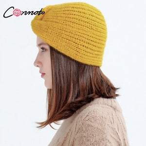 e1f6373ca4984a off White Knitted Beanie Female Winter Hats for Women 2018 Autu Warm Yellow  Caps Streetwear Gorros
