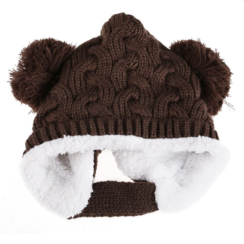 Cute Baby Knitted Hats Girl Boy Dual Balls Soft Warm Winter Crochet Cap Beanie Hat Plus Velvet Strap Buckle Baby Bonnet Kids Hat