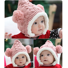 Load image into Gallery viewer, Cute Baby Knitted Hats Girl Boy Dual Balls Soft Warm Winter Crochet Cap Beanie Hat Plus Velvet Strap Buckle Baby Bonnet Kids Hat