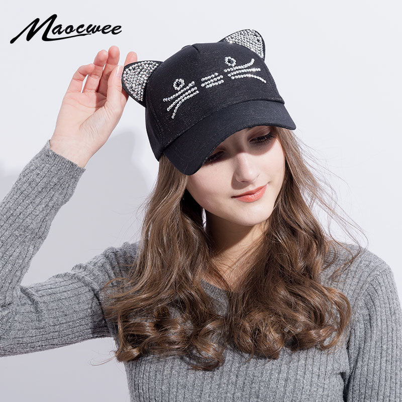 Cute Cat Ears Black Baseball Cap Women's hats New Fashion Rhinestone Cap Hat  Snapback Caps gorras planas hip hop bone casquette