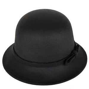 [DINGDNSHOW] 2018 Brand Fedora Hat Vintage Wo Kid Felt Bowler Floral Elegant Solid Color Cloche Winter Cap Soft for Girl