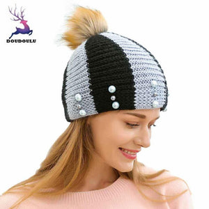 fb885745fd7 DOUD Caps Women s Hats With Pom Poms Hat Winter Warm Unique Fashion Keep  Warm Hemp Flowers Knitted Hat Drop Shipping ZH