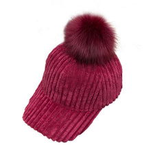 Load image into Gallery viewer, DOUDOULU Unisex Baseball Cap Women's Pompom Hat Winter Warm Raccoon Fur Ball Hip Hop Fashion Casual Baseball Cap Dropshipping#ZH