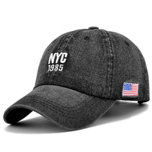 Load image into Gallery viewer, Denim Solid Blue Jeans NEW YORK City 1985 American Flag Baseball Hat Cap Cowboy Dad Hat Curved Ball Cap USA Distressed Vintage