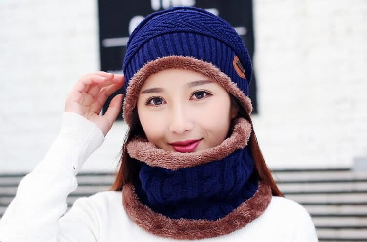 c521e73ec [Dexing]Neck warmer knit ski cap scarf cold warm fur lining winter hat for  women men Knitted velvet skullies beanies Bonnet
