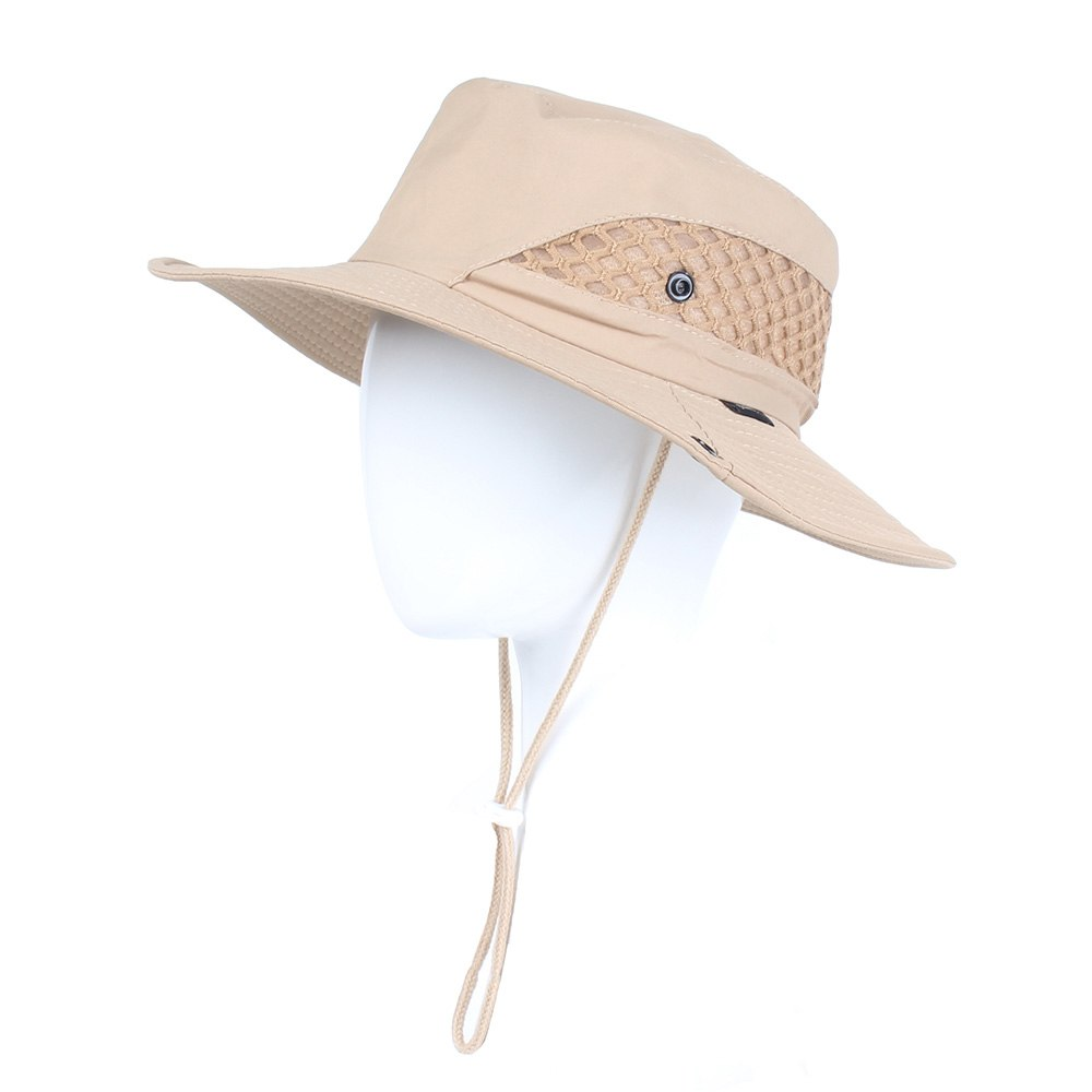 Summer Men Women Solid color Bucket hat with string Fisherman Cap ... 408df84ee4d