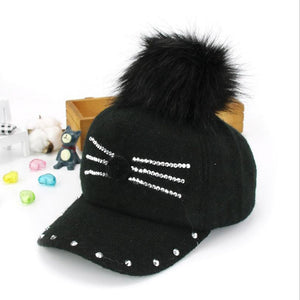 2-8 Y Winter Hats & Caps for Children kid Fur Ball Pompoms boy girl Warm Cap Winter Rhinestone little cat Baseball caps