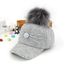 Load image into Gallery viewer, 2-8 Y Winter Hats & Caps for Children kid Fur Ball Pompoms boy girl Warm Cap Winter Rhinestone little cat Baseball caps