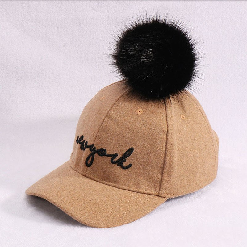cc0f2ef51a1 2-8 Y kids Winter Hats   Caps for Children Fur Ball pompoms boys girls –  oePPeo - Master of Caps   Hats