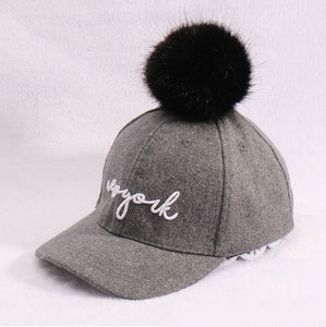 2-8 Y kids Winter Hats & Caps for Children Fur Ball pompoms boys girls Winter cap Letters embroidery Baseball cap