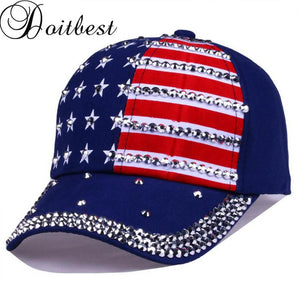 stars rivets mens snapback Caps women baseball cap national flag Brand rhinestone girls womens Snapbacks hat