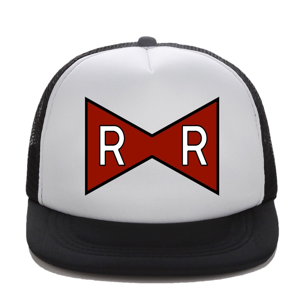 Trucker Cap RED RIBBON ARMY Print Dragon Ball Z Adult Trucker hat Mesh Flat Visor Snapback Hat Cap Kids Dragon Cap Gift