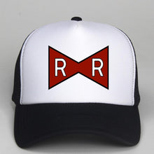 Load image into Gallery viewer, Trucker Cap RED RIBBON ARMY Print Dragon Ball Z Adult Trucker hat Mesh Flat Visor Snapback Hat Cap Kids Dragon Cap Gift