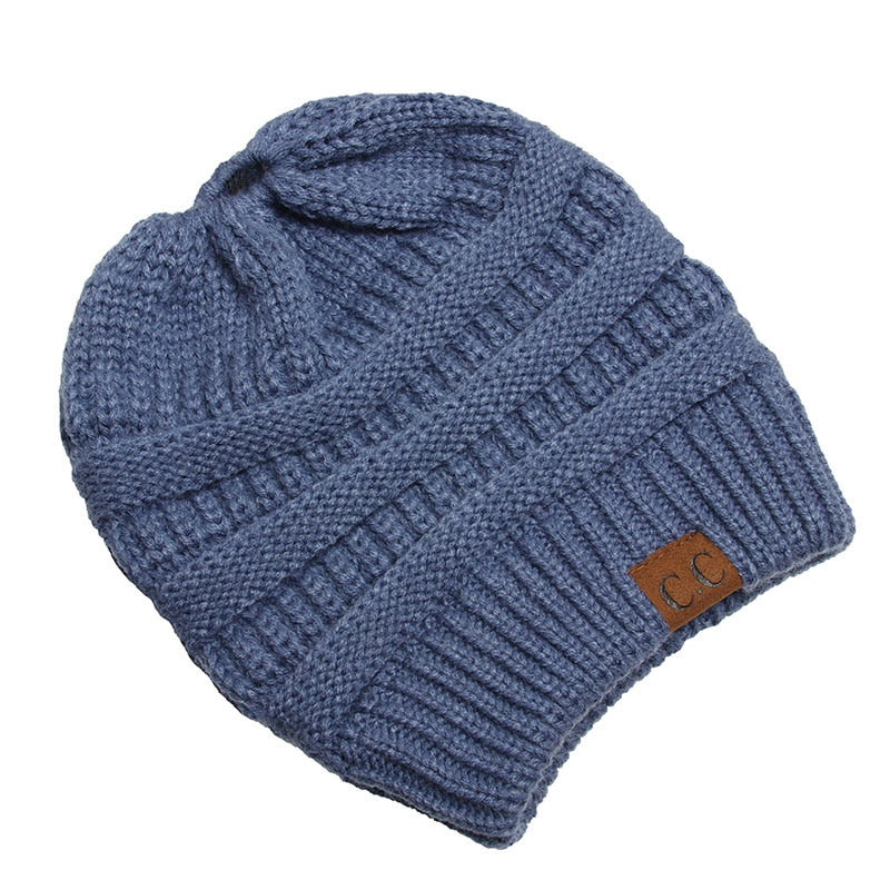 Drop Shipping CC Ponytail Beanie Winter Hats For Women Soft Knit ... 7df3c60aa5f