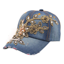Load image into Gallery viewer, Drop shopping Women summer Flower Denim Baseball Cap Lady fashion Jeans Hats W30 Baseball Cap for Adult