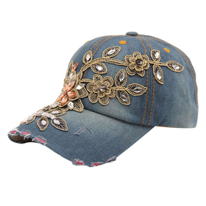 Drop shopping Women summer Flower Denim Baseball Cap Lady fashion Jeans Hats W30