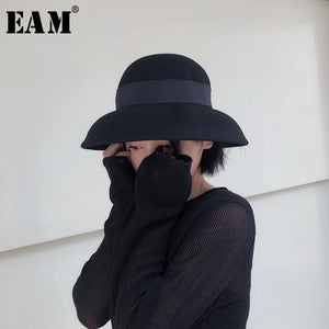 [EAM] 2020 Autu Winter New Elegant Round Dome Casual Patchwork Vintage Temperament Fashion Fisherman Hat All-match OA712