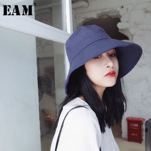 [EAM] 2020 New Summer Round Dome Solid Color Foldable All-match Temperament Linen Big Fisherment Hat Women Fashion Tide JG033