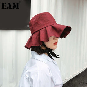 [EAM] 2020 New Summer Round Dome Wine Red Temperament Ruffle Split Joint Bandage Fishermen Hat Women Fashion Tide JF999