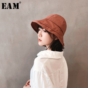 [EAM] 2020 New Summer Solid Color Drawsting Round Dome Temperament Big Fishermen Hat Women Fashion Tide All-match JF996