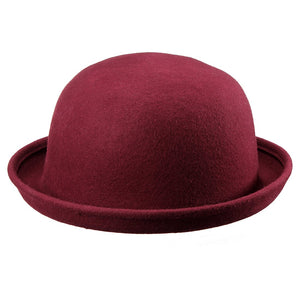 EAS-Wo Felt Hat On With Edges bell Woman Man Bowler Hats wine red