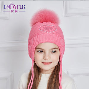 005a9329120 Heart-Shaped Rhinestones Winter Hats For Girls Thick Cot Knitted Ears Hat  Girl Fox Fur