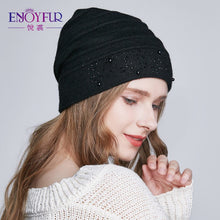 Load image into Gallery viewer, Winter Hats for Women Warm Wo Beanies Hat 2018 New Fashion Double Lining Caps With Rhinestones