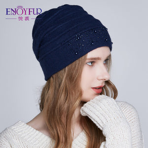 Winter Hats for Women Warm Wo Beanies Hat 2018 New Fashion Double Lining Caps With Rhinestones