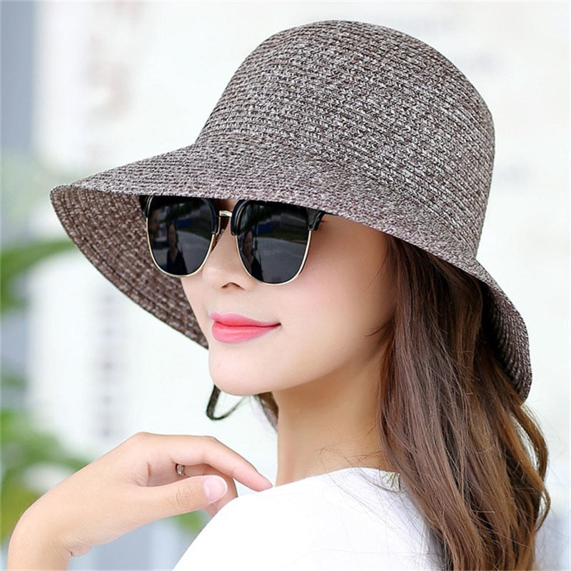 2020 New Lady Fashion Summer Hat Brand Women's Sun Hats Woman Cap Casual Straw Foldable Big Brim Shade Sunscreen Girl