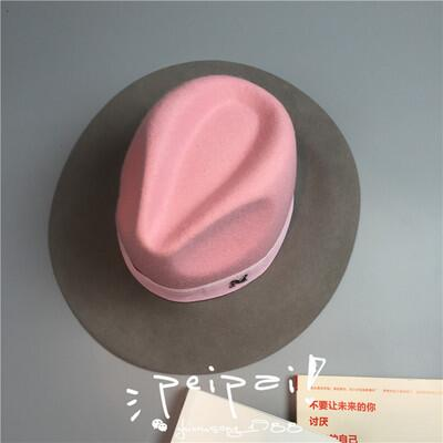 Elegant winter womens M letter 100% wo Jazz fedoras hat pink hat for women ladies large brim cowboy panama fedoras hat