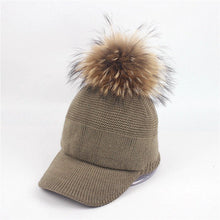 Load image into Gallery viewer, New Stylish Autumn Winter Large Raccoon Hair Ball Hat Women Fashion Real Fur Ball Baseball Caps Outdoor Warm Knitted Hat