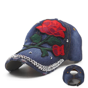 Embroidered Flowers Ponytail Women Cap Messy Bun Female Rhinestone Baseball Caps Denim  Female Cheap Snapback Hat Casual Hip Hop