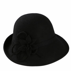 England Style Ladies Wo Fedoras Hats Black White Flower Wo felt Hat Fashion Women Church maison michel Cloche Hat Cap