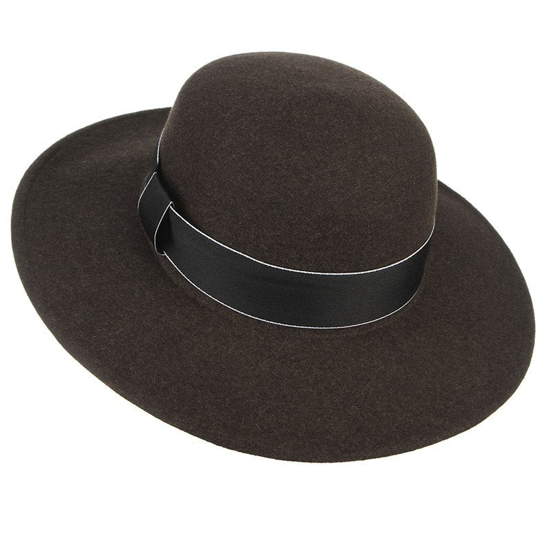 England Style Men And Women Wide Brim Winter Hats With Ribbon Bowler ... 7af45b436b3