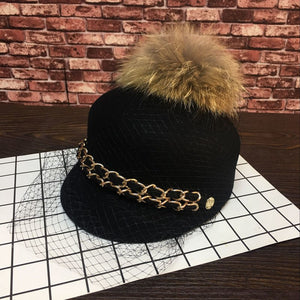 Europe and the United States New Korean fleece hats double chain large raccoon fur ball lace tide Baseball Cap Hat female