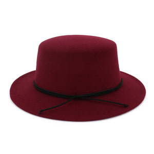 European US Classic Retro Flat Top Bowler Hat Wo Felt Fedoras Hats Flat Brim Party Formal Top Hat for Women Ladies
